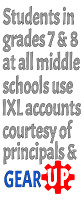 Students in grades 7 and 8 at all  middle schools use I X L accounts courtesy of principals and Gear Up.